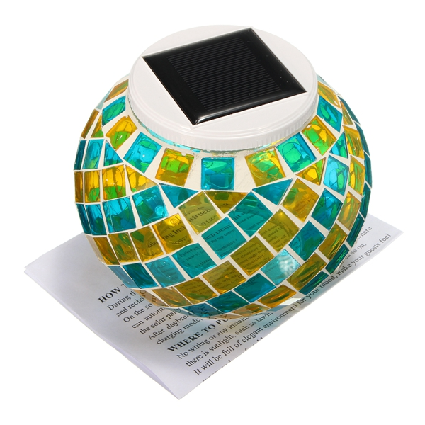 Solar Power Color Changing Mosaic Glass Ball Outdoor Lawn Garden LED Light