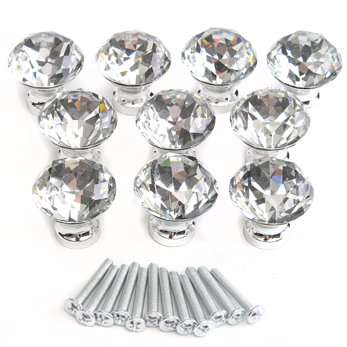 10Pcs Crystal Glass Cabinet Door Knob Clear Diamond Shape Drawer Pull Handle