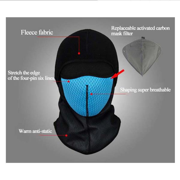 Mens Winter Replaceable Fleece Carbon Filter Outdoor Skiing Windproof Face Mask Hat