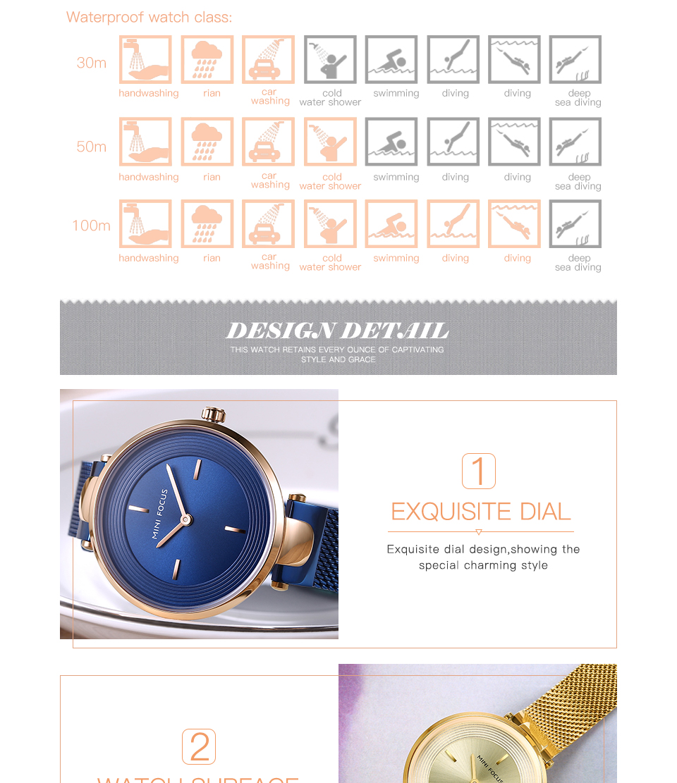 MINI FOCUS MF0195L Unique Dial Display Ladies Wrist Watch
