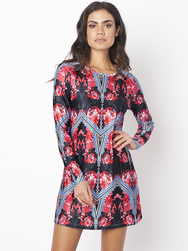 Vintage Print Long Sleeve High Elastic Mini Dresses
