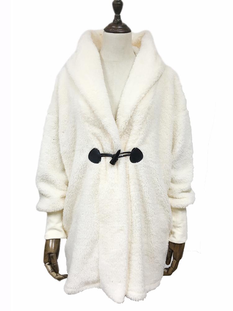 Plus Size Elegant White Faux Fur Winter Warm Hooded Coats