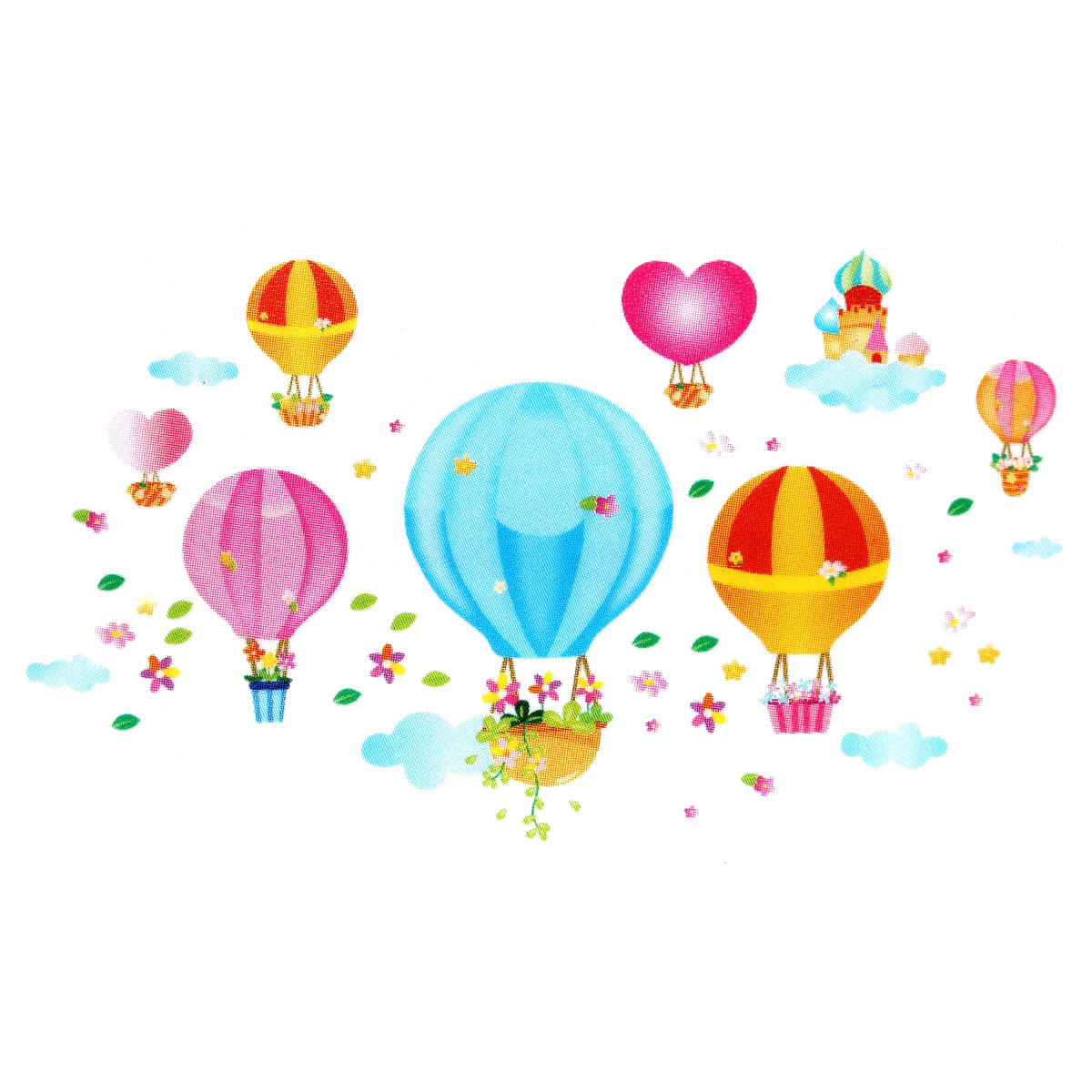Children Kids Baby Cartoon Fire Balloon Bedroom DIY Adhesive Art Wallpaper Sticker Removable Decal Decoration