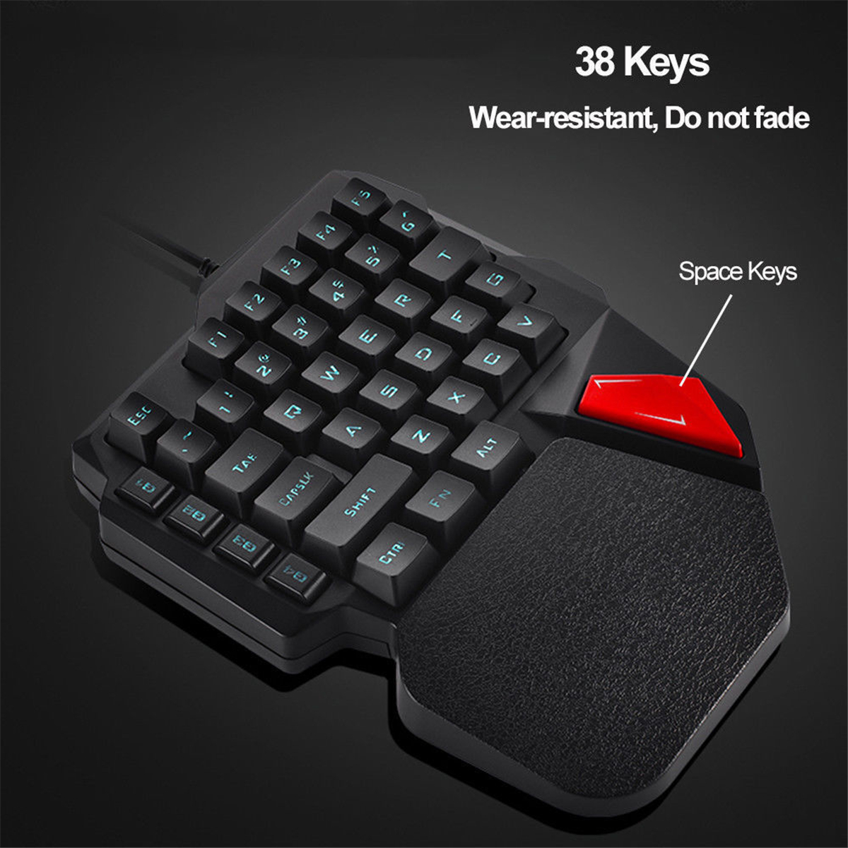 K108 Mini USB Wired 38 Keys LED Backlit Ergonomic Single Hand Keypad Gaming Keyboard