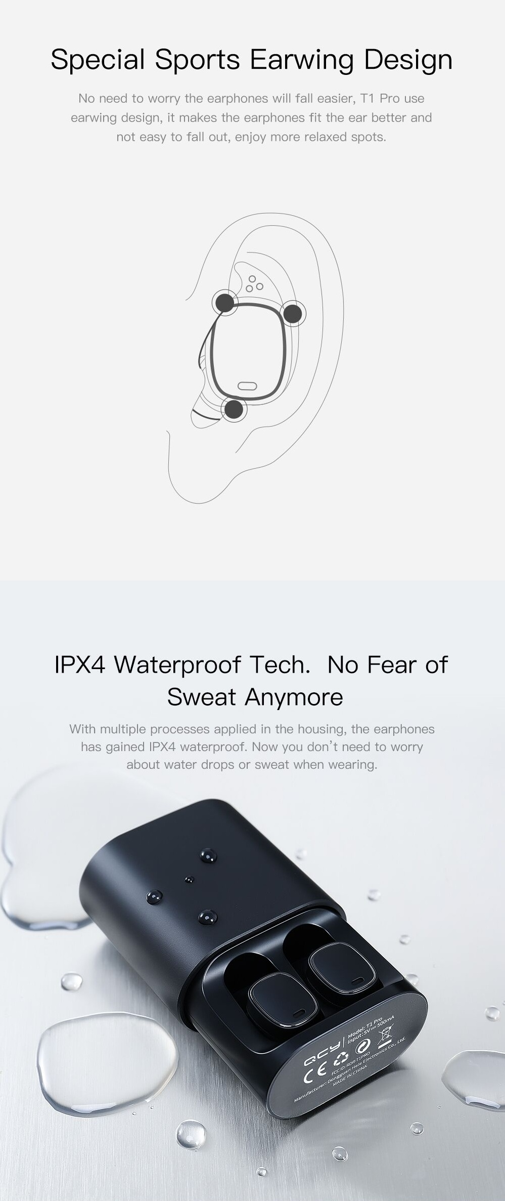 [True Wireless] Xiaomi QCY T1 PRO TWS Dual bluetooth Earphone IPX4 Waterproof Headphones with Charging Box