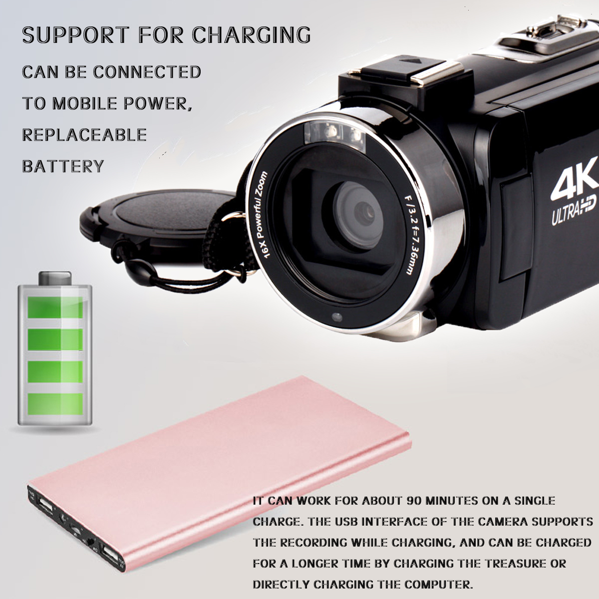 4K WiFi Ultra HD 1080P 16X ZOOM Digital Video Camera DV Camcorder with Lens and Microphone