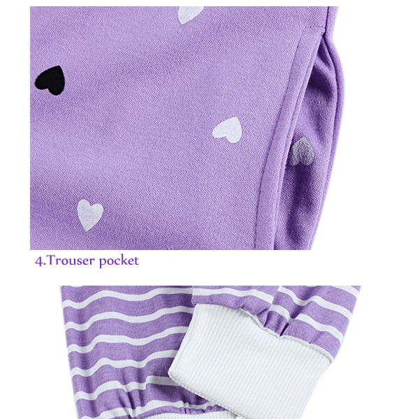 Cozy Heart Printing Stripe Nightwear Round Neck Long Sleeve Sleepwear Sets