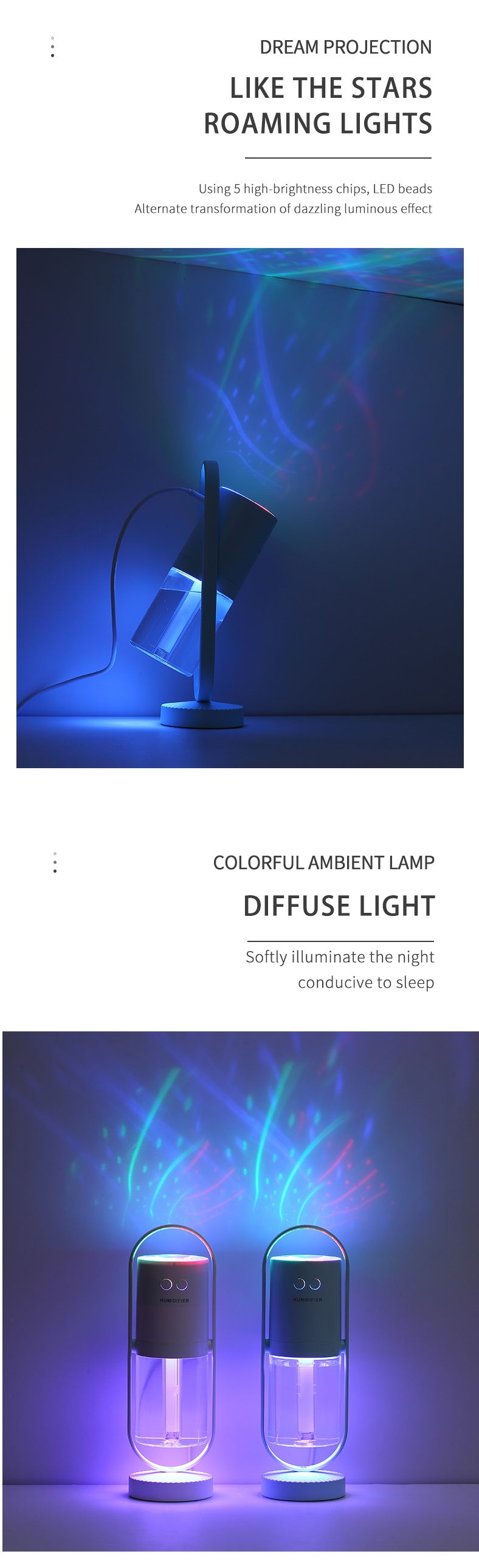 USB Humidifier With Colorful Projector Lamp 360° Rotating
