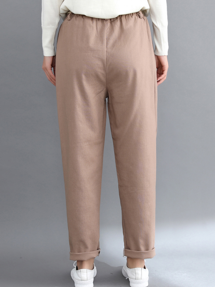 Women Casual Elastic Waist Pure Color Pants with Pockets