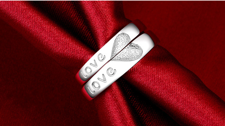 S925 Silver Love Heart-shaped Open End Trendy Adjustable Couple Ring