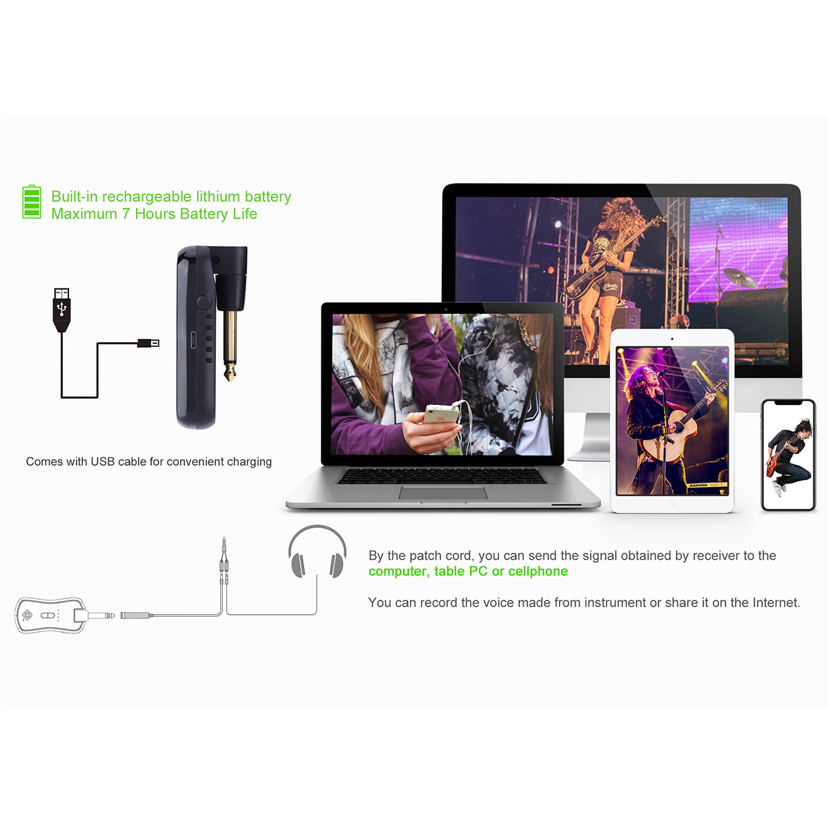 Hoison S8 Wireless Audio Transmission System With Transmitter Receiver Built-in Lithium Battery for Electric Guitar