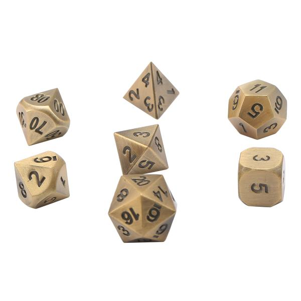 ECUBEE Antique Color Solid Metal Polyhedral Dice Role Playing RPG 7 Dice Set With Bag