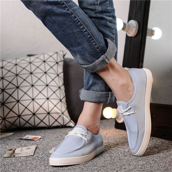 Canvas Lace Up Pure Color Round Toe Flat Sneakers For Men