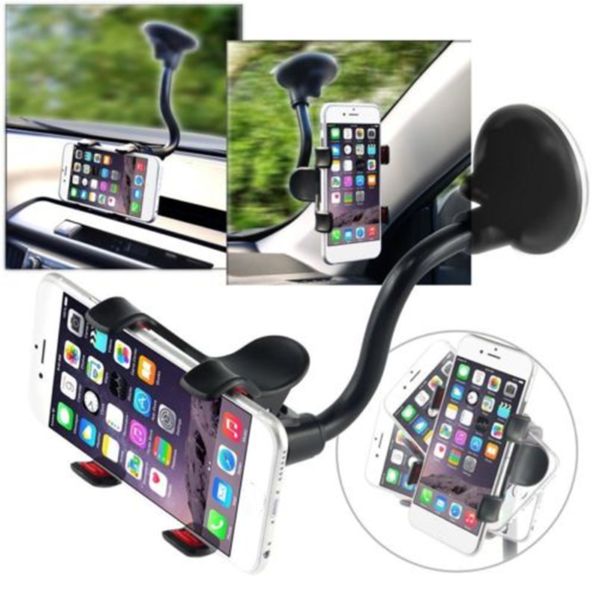 360 Degree Rotating Flexible Car Wind Shield Mount Holder Stand Bracket for iPhone 8 iPhone X Samsung