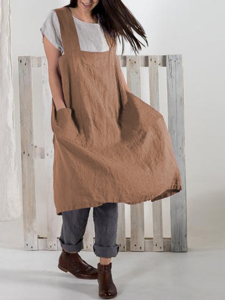 Japanese Vintage Solid Pockets Cotton Apron Dress