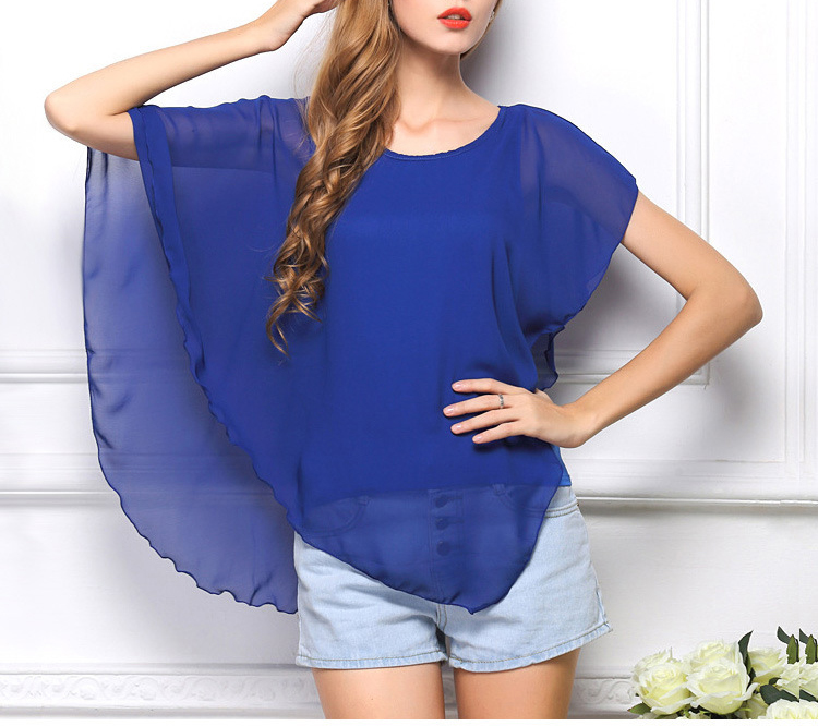 Casual Women Scoop Neck Pure Color Irregular Ruffle Blouse