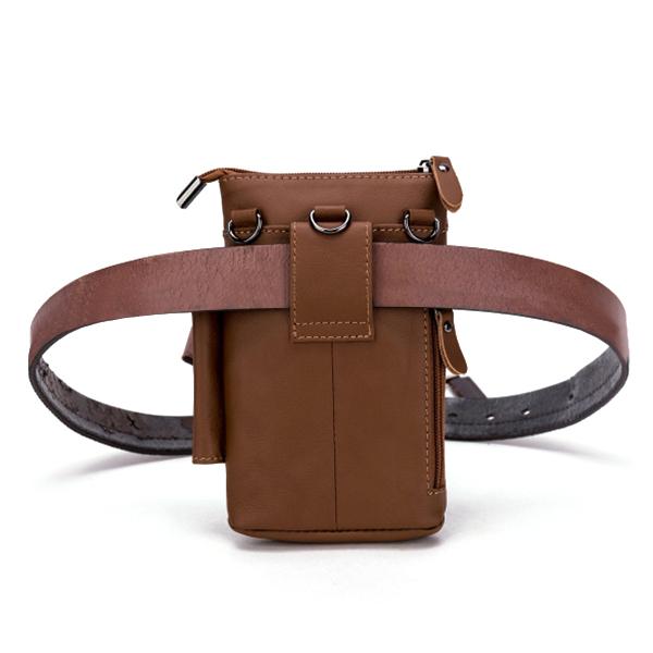 Men Genuine Leather Multifunction Waist Bag Belt Phone Bag Wallet Case