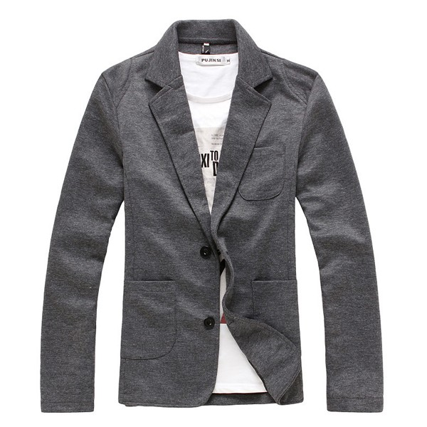 Mens Spring Fall Fashion Casual Coat Slim Fit Korean Blazers Solid Color Long Sleeve Suit