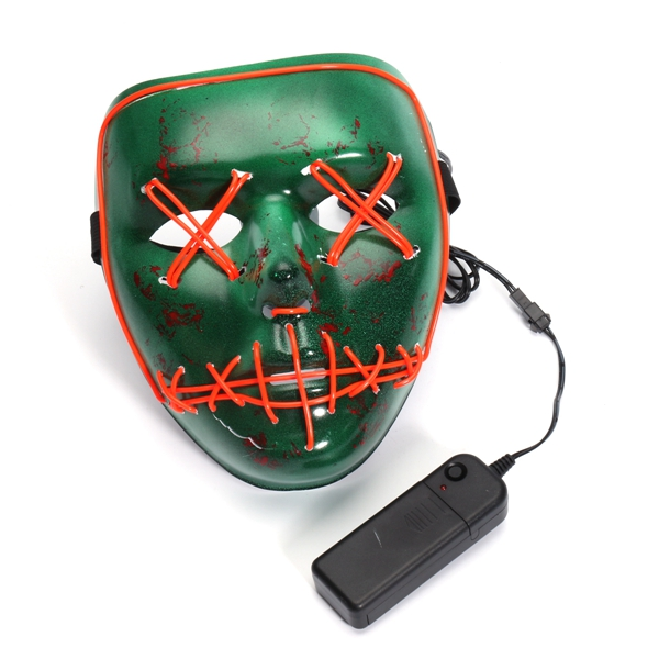 LED Light Up Skull Mask Human Skeleton Scary Fancy Dress Up DJ Party Festival Halloween