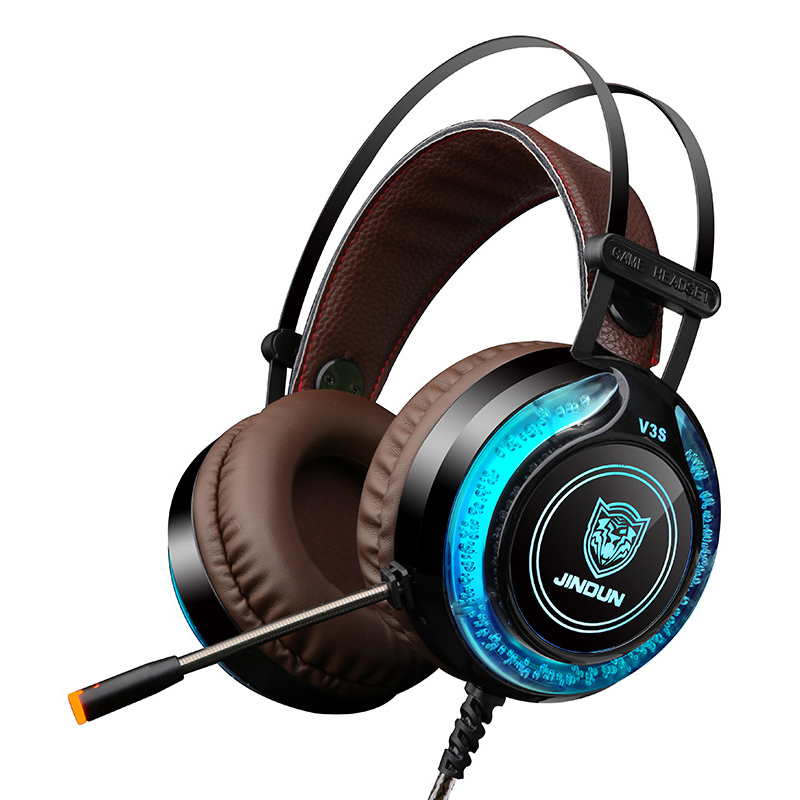 V3S Gaming Headphone LED Colorful Stereo 3.5mm USB Head