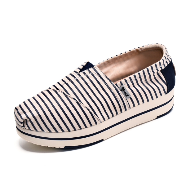 Women Casual Shoes Chic Platform Canvas Slip On Colorful Shoes