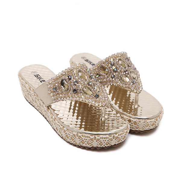 Women Summer Beach Outdoor Casual Fashion Diamond Wedge Sandals Comfortable Slipper Shoes