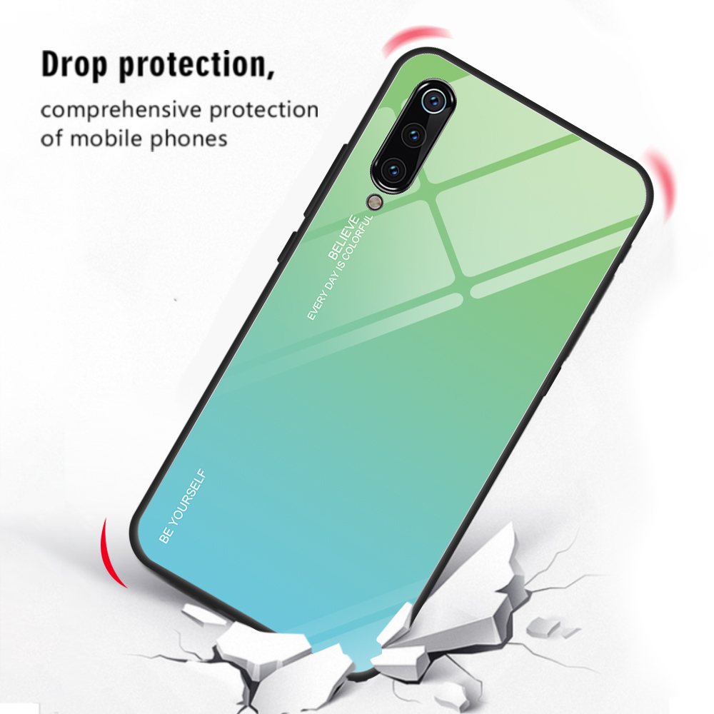 Bakeey Gradient Color Tempered Glass + Soft TPU Back Cover Protective Case for Xiaomi Mi9 / Mi 9 Transparent Edition