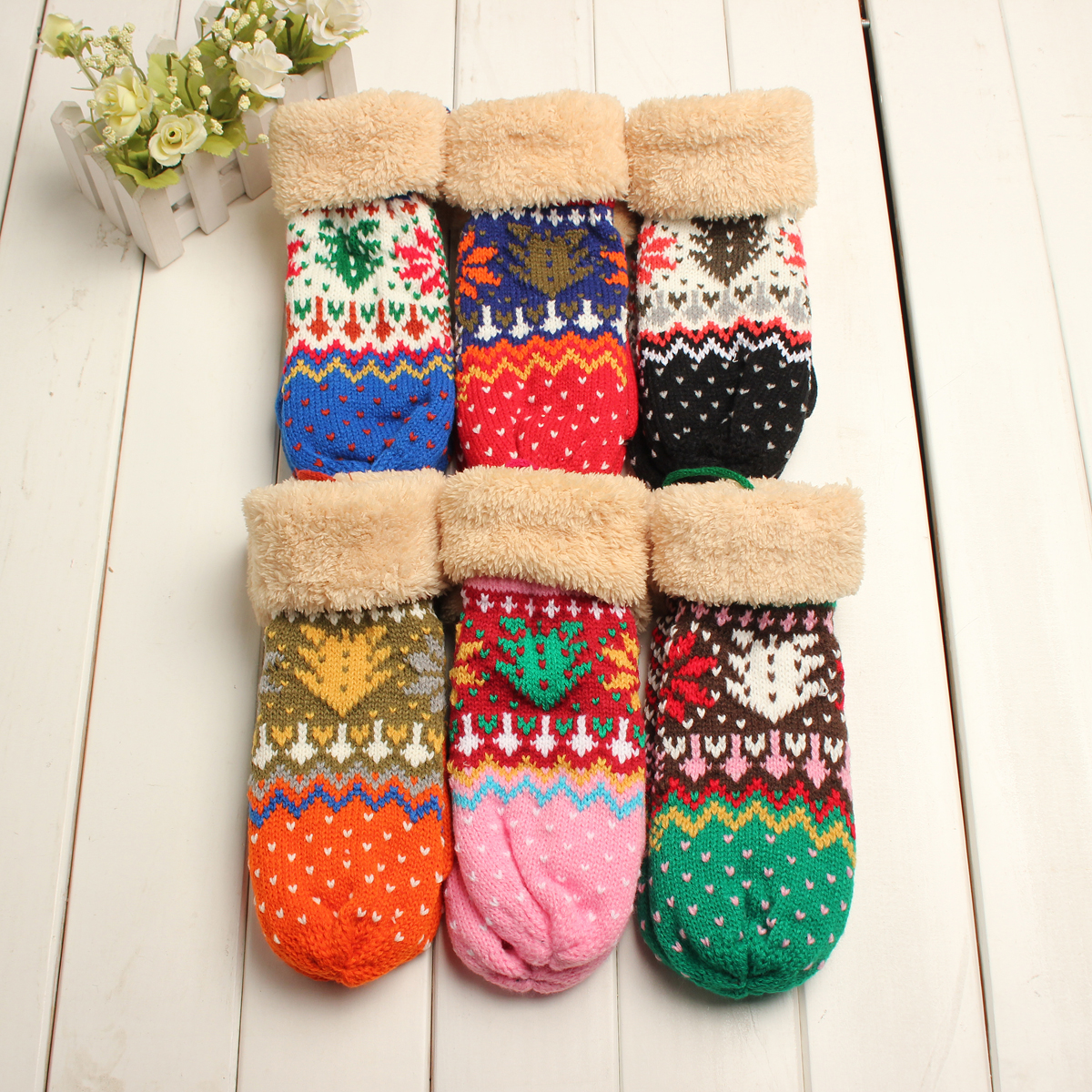 Women Girl Cute Crochet Knitting Full Finger Cotton Gloves Thick With Rope Mittens