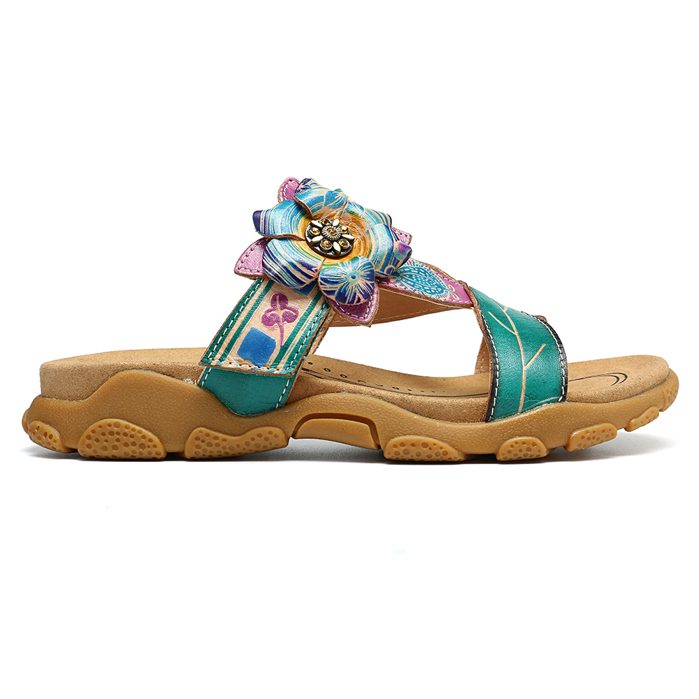 SOCOFY Leaves Splicing Leather Soft Sandals