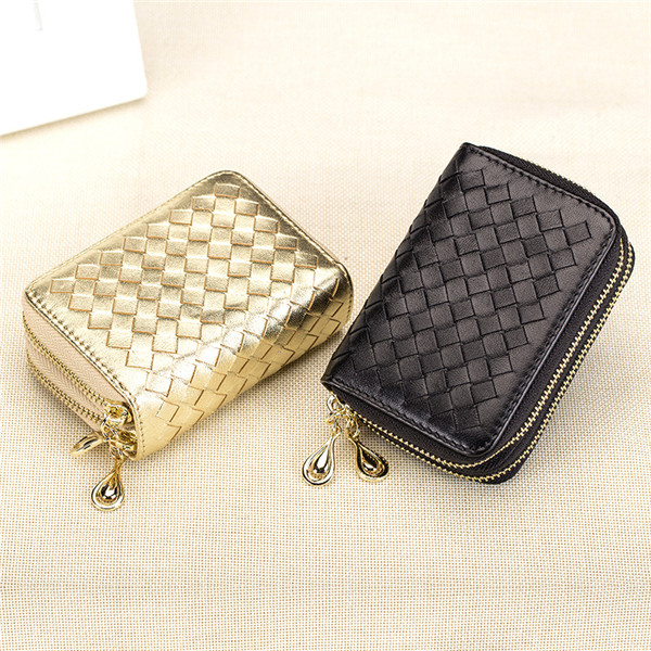 Women Men Sheepskin RFID Double Zipper Card Holder Knit Short Purse Wallets Coin Bags