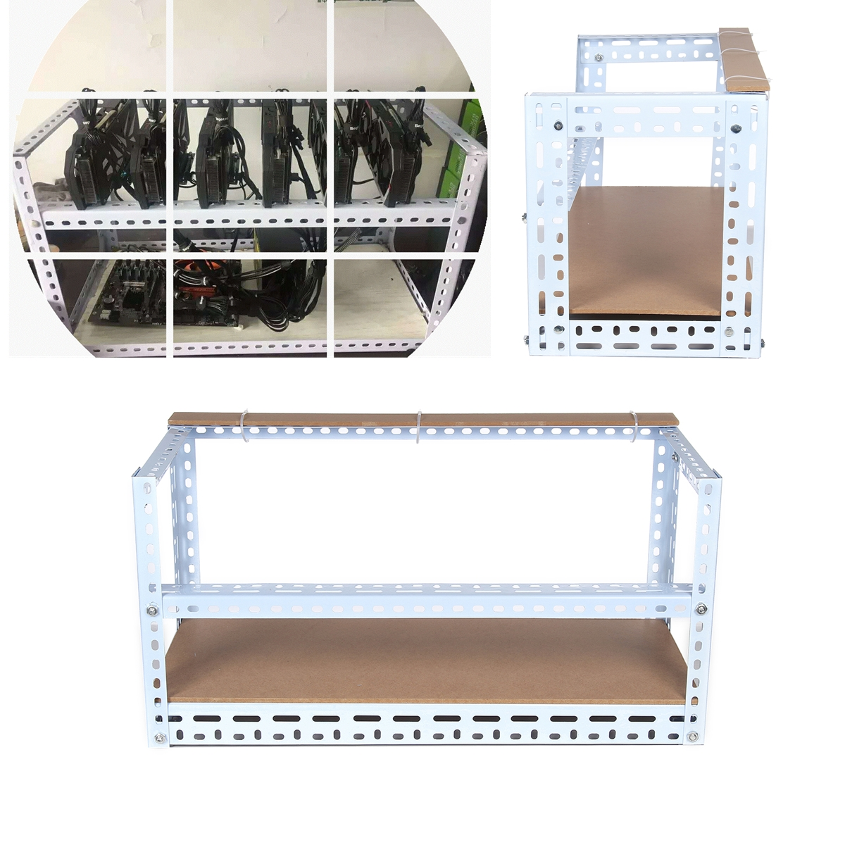 Steel Crypto Coin Bitcoin Mining Rig Frame Case Shelf Set For 6 Gpu