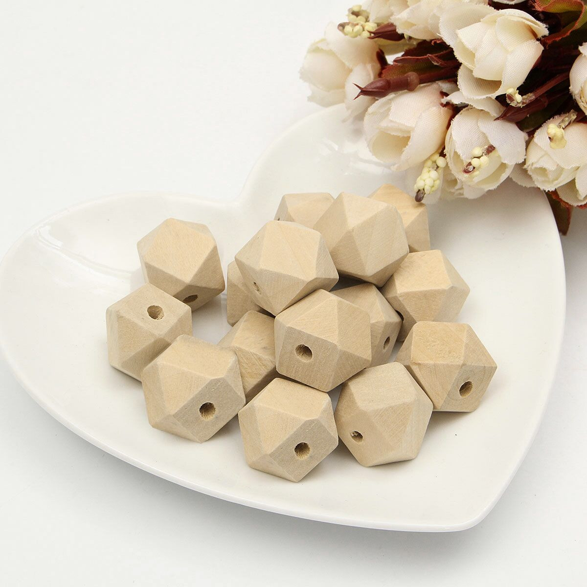 15pcs 18mm Geometric Wooden Loose Beads DIY Accessories Natural Craft