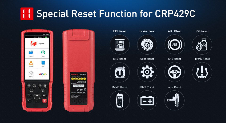 LAUNCH X431 CRP429C OBD2 Car Auto Diagnostic Code Reader Scanner Tool for Engine ABS SRS AT 11 Service