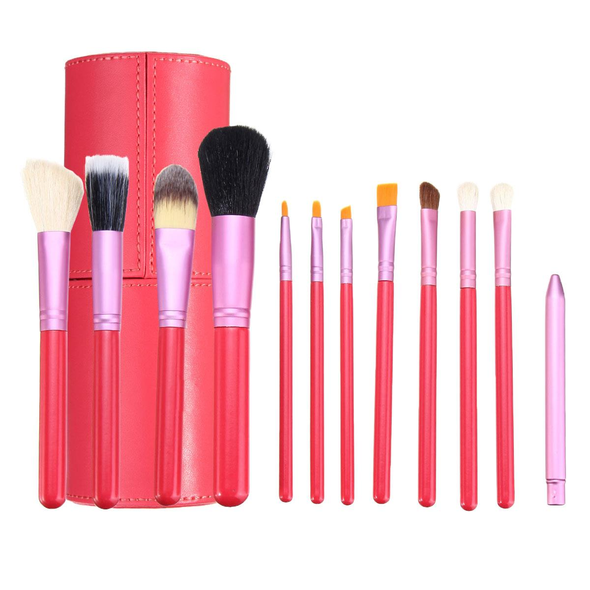 12pcs Pink Makeup Cosmetic Brush Set Blush Eyeliner Bru