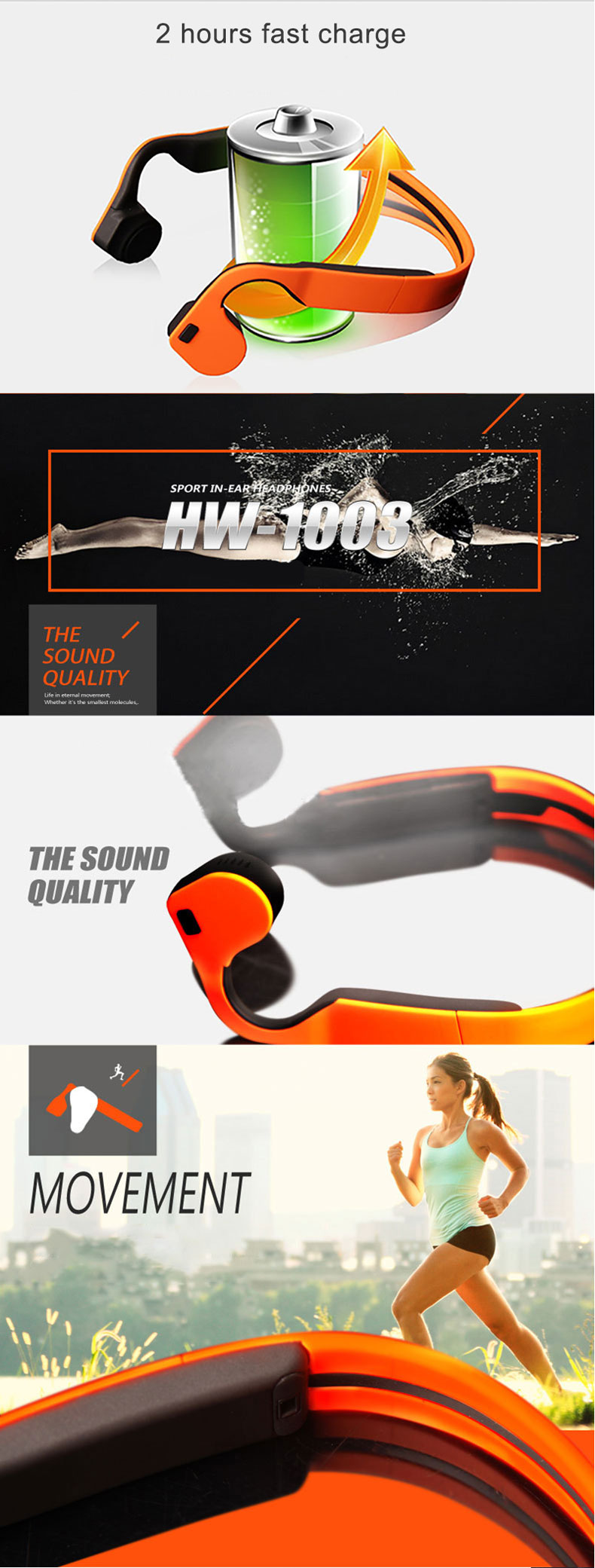 HW-1003 Bone Conduction Wireless bluetooth Headphones Life Waterproof Sport NFC Hands-free Earphone