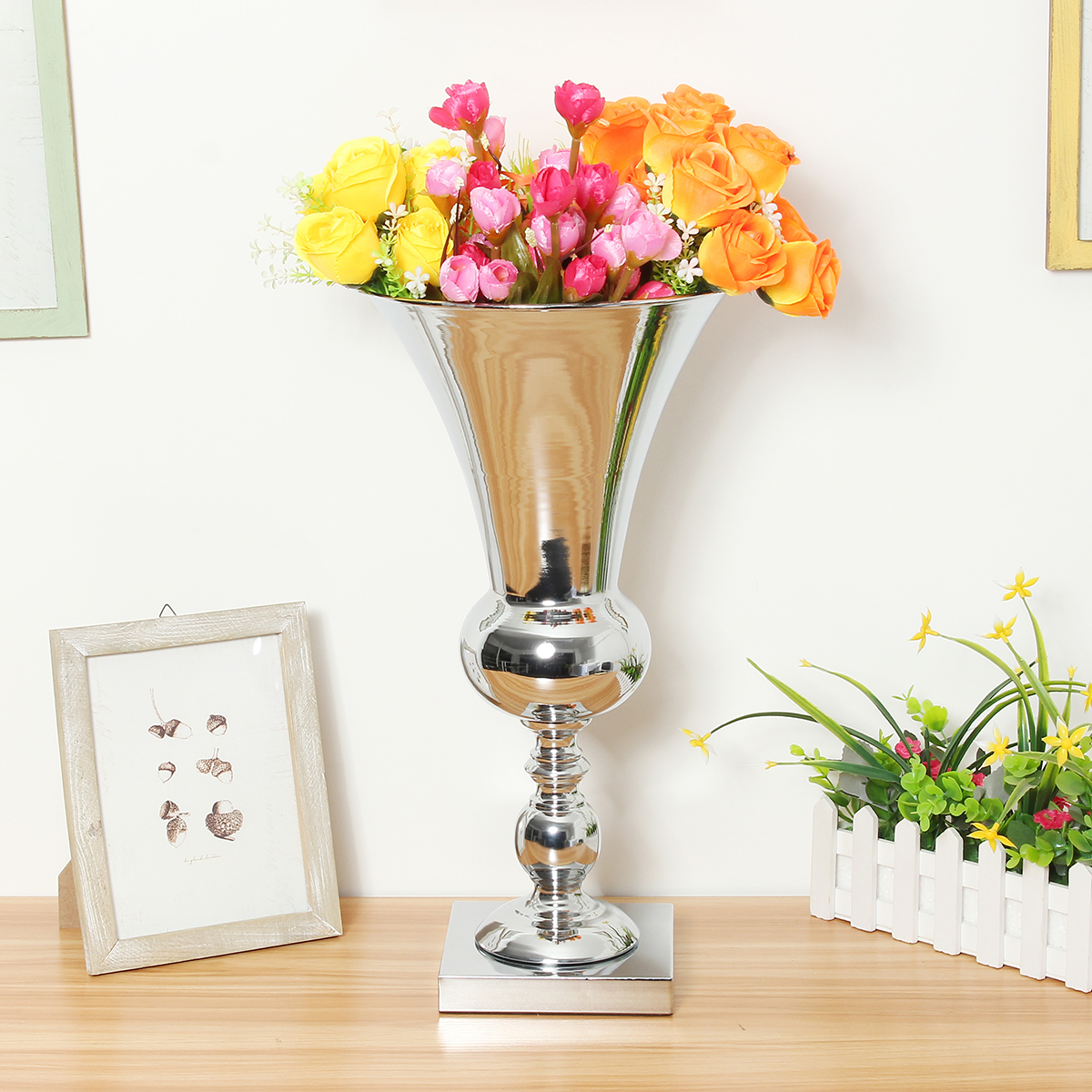 50cm Iron Luxury Flower Vase Display Wedding Table Centrepiece Home Party Decor Silver