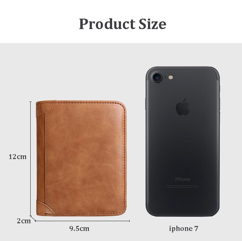 Men's 3 Folding Genuine Leather Wallet Short Vertical Billfold ID Credit Card Holder