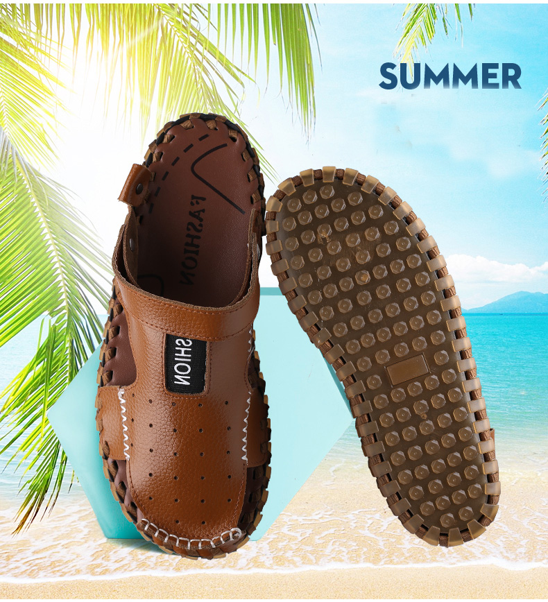 R493 Men Outdoor Summer Leather Casual Round Toe Flat Soft Beach Slipper Sport Dad Shoes Sandals