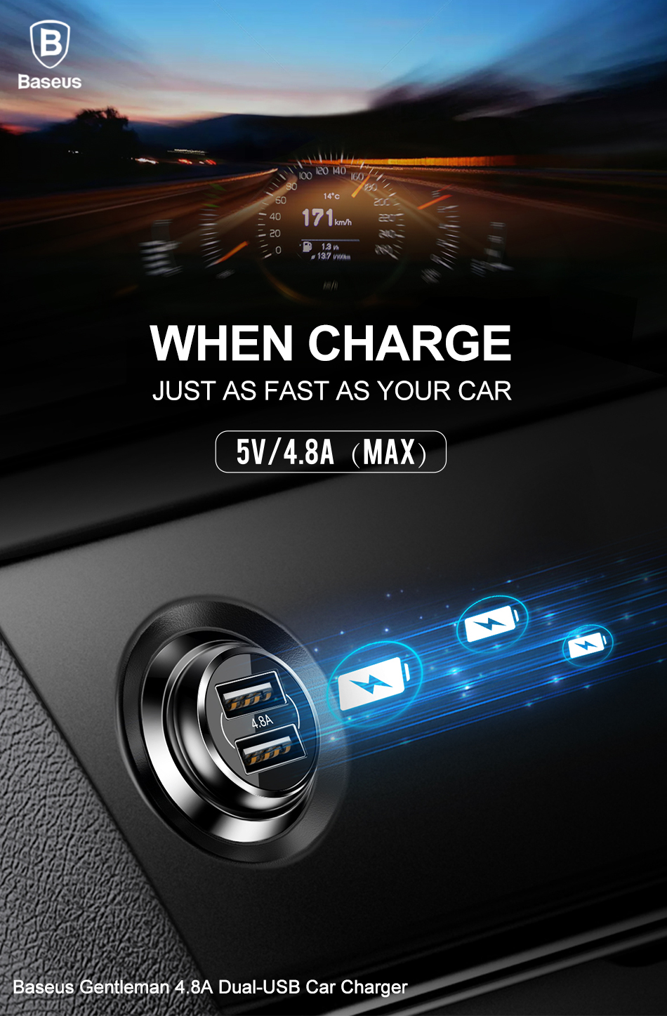Baseus 4.8A Dual USB Ports Fast Car Charger For iPhone X 8Plus Oneplus5 Xiaomi 6 Mi A1 Tablet