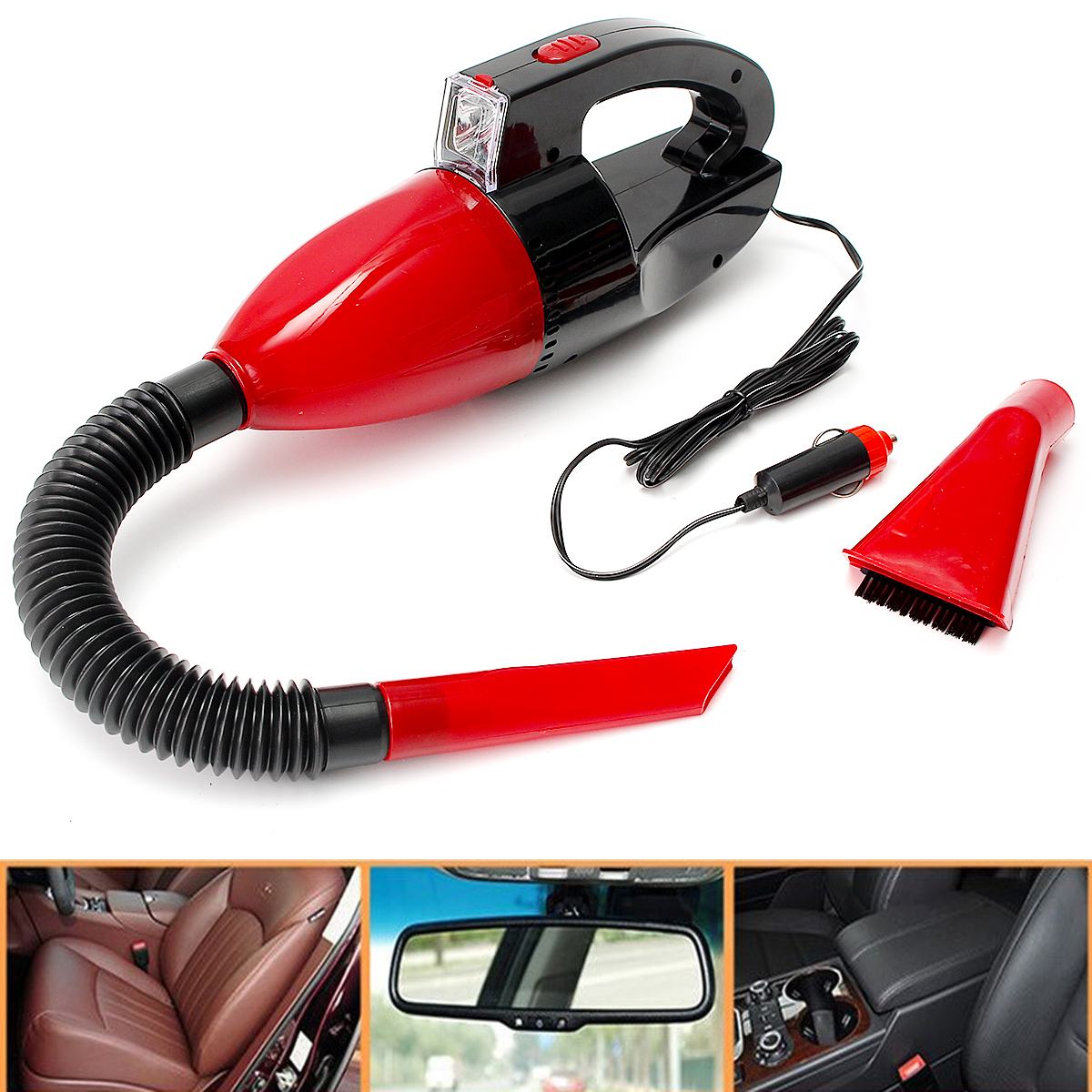 Portable12V 60W Auto Car Vaccum Cleaner Light Lamb Vehicle Mini Dust Cleaner