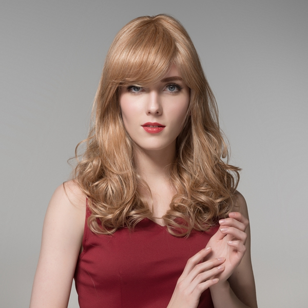 Charming Long Wave Curly Side Bang Human Hair Wig Virgin Remy Mono Top Capless