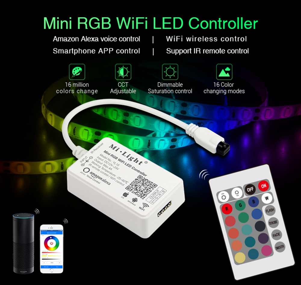 Milight YL1S DC12-24V Mini RGB WiFi Smart APP LED Controller+IR Remote Control for LED Strip Light