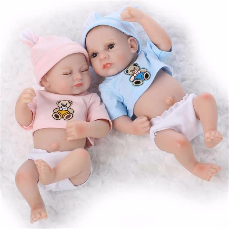 Sleeping Mini Twins Reborn Baby Dolls 11 Inches Full Si