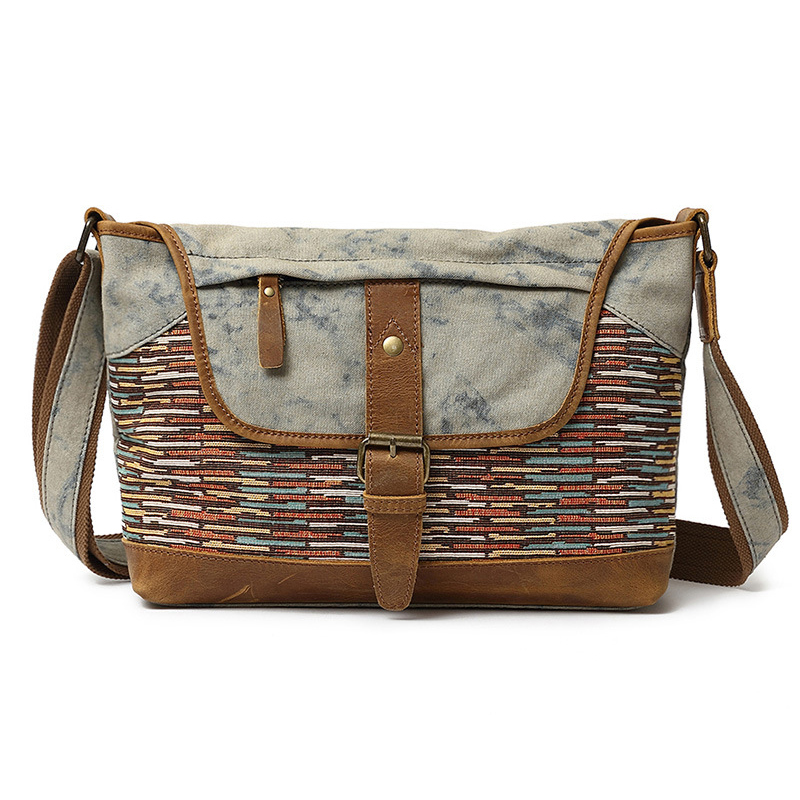 Men Women Canvas Genuine Leather Retro Fashion Printing Shoulder Crossbody Bag