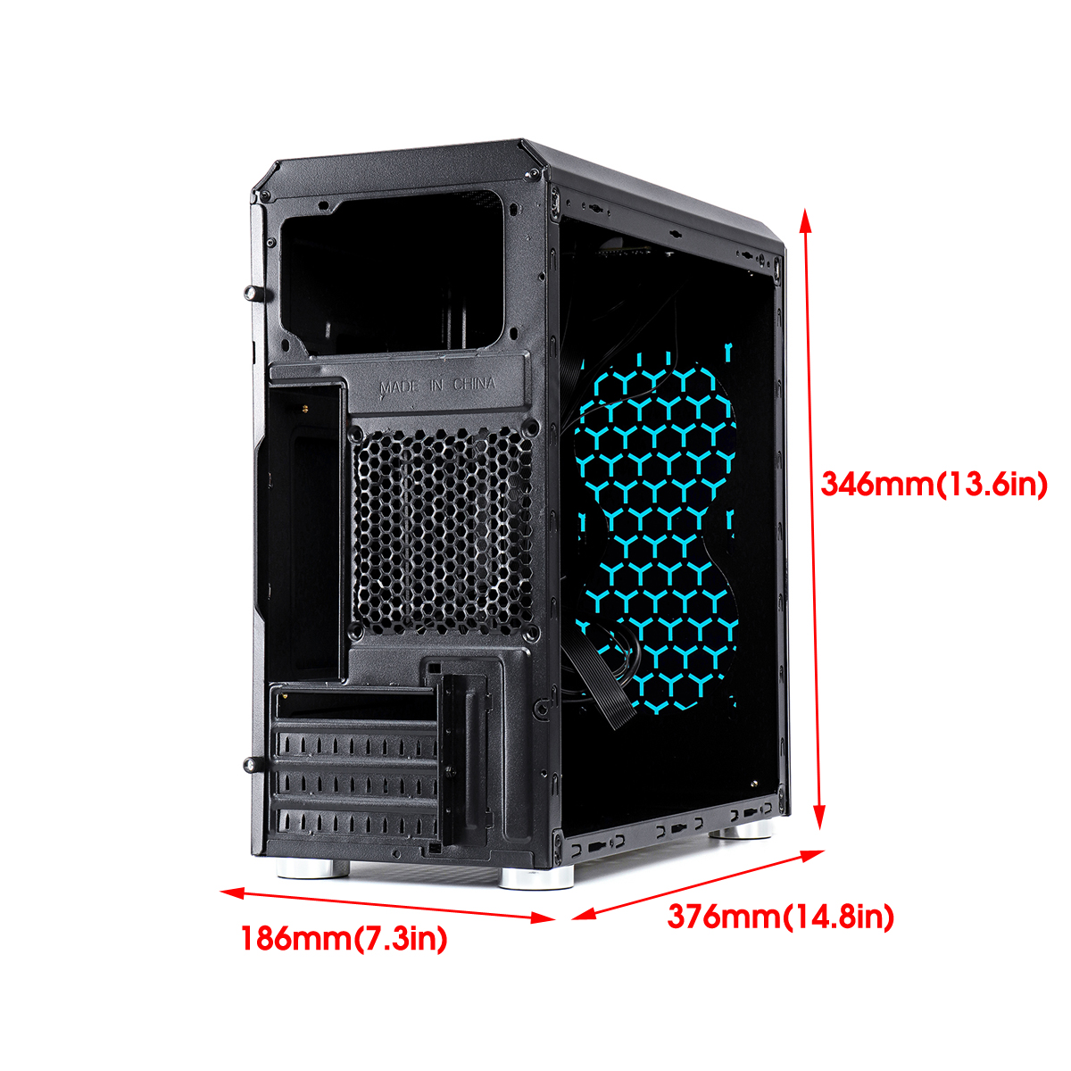 Transparent Acrylic Side Panel Micro ATX Computer PC Gaming Case for Micro-ATX Mini-ITX Motherboard