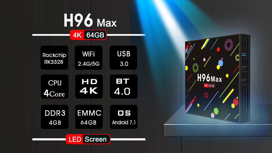 H96 H2 MAX RK3328 4GB RAM 64GB ROM 5G WIFI Bluetooth 4.0 USB3.0 Android 7.1 TV Box with Time Display