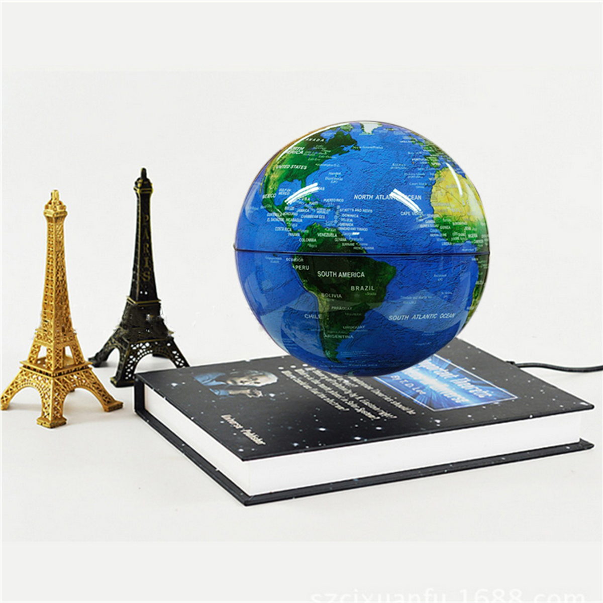 6 Inch Levitation Magnetic Rotate Globe Floating Levitating Earth Map With Bookbase Xmas Gift