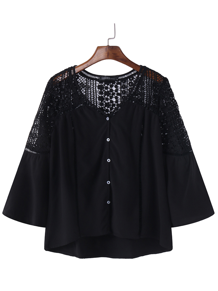Casual Women Hollow Out Lace Loose Button Blouse
