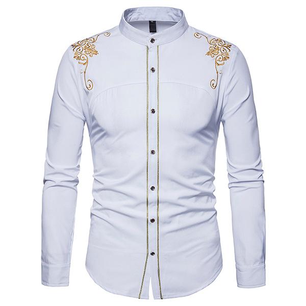 Euramerica Palace Style Embroidery Slim Band Collar Shirts