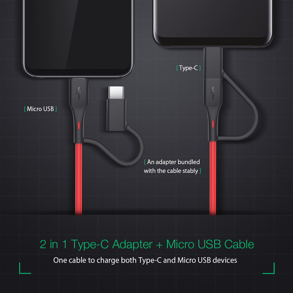 BlitzWolf® BW-MT3 3A 2 in 1 Type C Micro USB Fast Charging Data Cable Adapter 3ft 6ft For Xiaomi Mi9 Oneplus 7 HUAWEI P30 Pocophone F1 S10 S10+